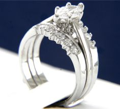 0.95 CT Clear Solitaire CZ Engagement Wedding Wedding Band Ring Set #InterStoreJewelry