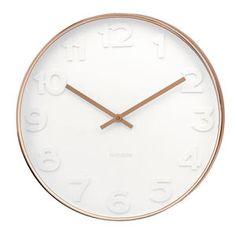 White And Copper Wall Clock - clocks