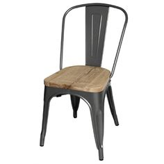Steel Dining Sidechairs with Wooden Seatpads Grey