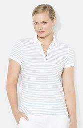 Lauren Ralph Lauren Tejido Collar Stripe Polo (Plus Size)