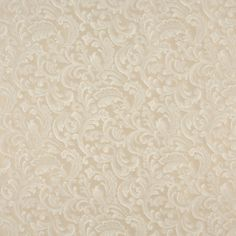 Ecru Classic Beige and White Abstract Damask Upholstery Fabric