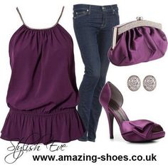 Purple top, purse, and shoes golden earrings and blue jeans..