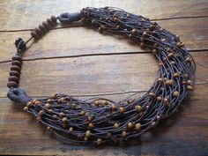 Multi Strand Linen Nevklace Boho Necklace Rustic by ReTeTeer