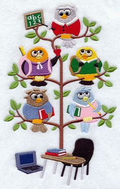 Back to School Birds in a Tree Embroidered Quilt by remimartin