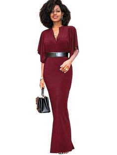 V Neck Batwing Sleeve Women's Maxi Dress – Ecstacy Shop  Shop & Save !!! ‬  #EcstacyShop #OnlineShopping #OnlineMarketing #BillionaireDrummer #Fashion #Marketing #ecommerce #Retail #OnlineStore #Boutique