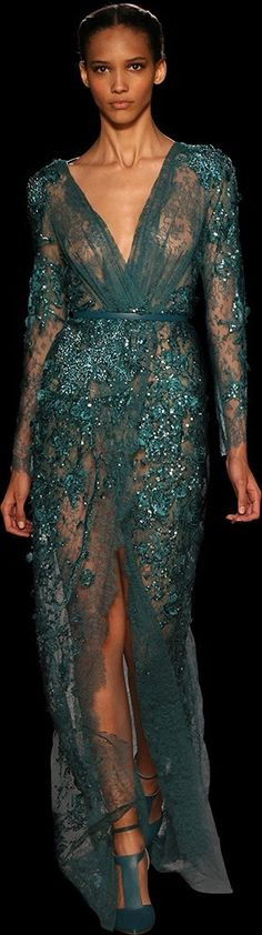 Teal lace gown. Lovely!