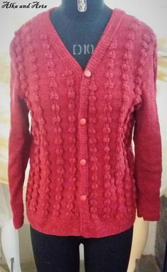 This beautiful sweater is knitted in a design namely Bubble - chain design. It is a chain of bubbles and looks great. It is also not much difficult. Knit Cardigan Pattern, Sweater Knitting Patterns, Knitting Stitches, Free Knitting, Crochet Patterns, Looks Great, Knit Crochet, Sweaters, Cardigans