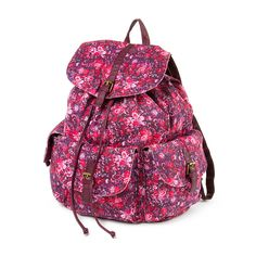 Berry Floral Canvas Backpack with Faux Leather Trim