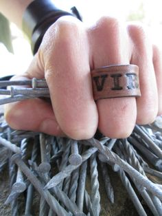 Vires Handmade Leather Ring, Strength Handstamped Leather Ring, Unisex Leather Ring, Ring Size 10, Latin Quote Ring, Inspirational ring
