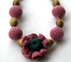 Pink  Crochet Necklace with flower Ball jewelry by ARTWORKCROCHET, $27.00