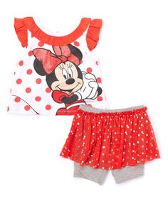 Loving this Red Polka Dot Minnie Mouse Top & Skirted Shorts - Infant on #zulily! #zulilyfinds
