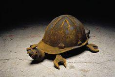 Rusty turtle garden art made from old hard hat, wrench, and metal parts. - Rusty turtle garden art made from old hard hat, wrench, and metal parts. Welding Art Projects, Metal Art Projects, Metal Crafts, Diy Projects, Project Ideas, Metal Yard Art, Scrap Metal Art, Art Fer, Sculpture Metal