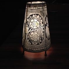 "Beautiful hand painted leather(Charmkari) lampshade gives an appearance of rich ornamentation.This form of art popularly known as ""Tholu Bammalata' in telugu is one of the earliest forms performing ar Painting Lamp Shades, Painting Lamps, Madhubani Art, Madhubani Painting, Fabric Chandelier, Painting Leather, Leather Art, Kalamkari Painting, Indian Art Paintings"