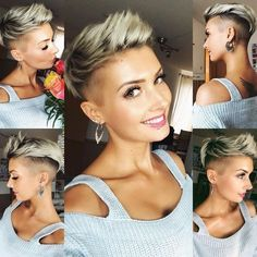 Blonde Pixie Cut - 90 Classy and Simple Short Hairstyles for Women over 50 - The Trending Hairstyle Undercut Hairstyles Women, Short Spiky Hairstyles, Short Hair Undercut, Short Pixie Haircuts, Short Hair Cuts, Cool Hairstyles, Short Hair Styles, Funky Short Hair, Undercut Women