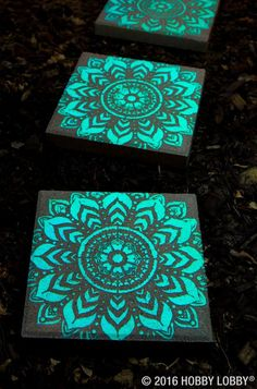 pavers stenciled with glow in the dark paint