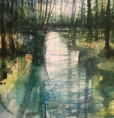 I don't know who painted this but it brings me a lovely feeling of tranquility. Abstract Landscape Painting, Landscape Drawings, Seascape Paintings, Watercolor Landscape, Landscape Art, Landscape Paintings, Watercolor Water, Watercolor Trees, Abstract Watercolor