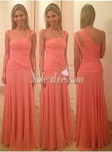Simple-dress 2015 A-line One-shoulder Chiffon Long Bridesmaid Dress CHBD-8070
