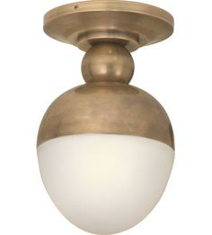 Over sink downlight - Visual Comfort Thomas OBrien Clark 1 Light Flush Mount in Hand-Rubbed Antique Brass TOB4006HAB-WG