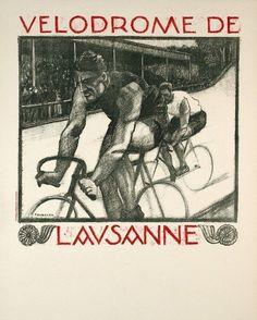 #cyclingposters Velodrome de Lausanne, 1925 by Jacques Favarger. @brooksengland   via @wayneford