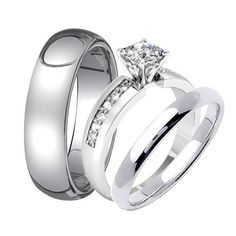 3 pc His & Hers TUNGSTEN Carbide Stainless by WeddingRingSets, $42.55