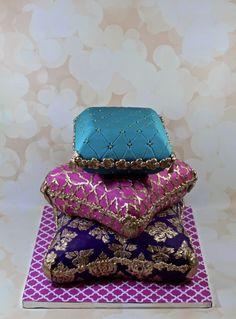 pillow cake - Cake by soods Cupcake Cake Designs, Cupcake Cakes, Cute Cakes, Pretty Cakes, Gorgeous Cakes, Amazing Cakes, Jasmine Cake, Jasmine Party, Mehndi Cake