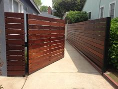 modern wooden fences and gates modern wood gate modern fence gate backyard gate ideas best side gates ideas only on modern Driveway Fence, Backyard Gates, Patio Fence, Brick Fence, Front Yard Fence, Garden Fencing, Dog Fence, Wood Fence Gates, Brick Pathway