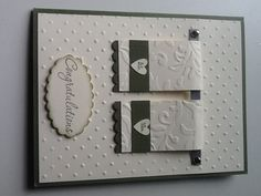 Wedding card for my niece, made with artichoke and vanilla cards stock.  Brushed silver and brads finish off the towel rack