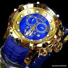 Invicta Reserve Venom Sea Dragon Gen II Gold Plated Swiss Blue MOP Watch New
