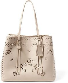 Polo Ralph Lauren Laser-Cut Floral Leather Tote #afflink