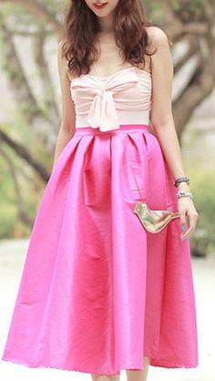 Pink Midi Skater Skirt