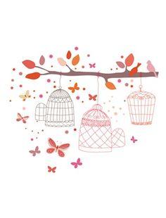 Lot de 70 stickers cages à oiseaux fille thème Tropic'ailes, Chambre Bébé