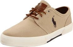 Polo Ralph Lauren Men's Faxon Low Sneaker, Khaki Canvas, 9 D US -  Ralph Lauren blends classic American style and simplicity to create these casual slip on shoes. The shoes features canvas uppers with leather detail inside collar, leather lace up closure, embroidered Polo Ralph Lauren logo on side, cushioned insole, and rubber outsole. [Price: 	$30.68 - $99.00 ] #Shoes
