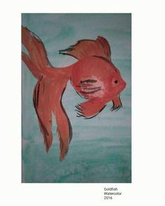 Goldfish. Watercolor. Acuarela. Carpa dorada.