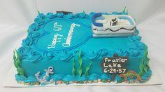 Handmade from fondant, pontoon boat. Buttercream cake with fondant decorations. Chocolate Malt, Modeling Chocolate, Buttercream Cake, Fondant Cakes, Boat Wedding, Wedding Cake, Lake Cake, Boat Cake, 70th Birthday Parties