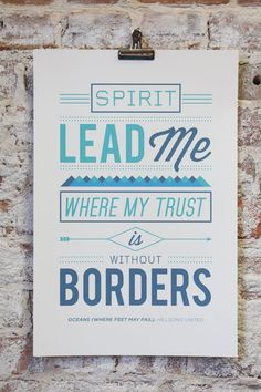 """Vintage Typography Poster Print - Hillsong United """"Oceans (Where Feet May Fail)"""" Worship Song"""