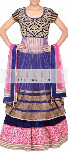 Buy Online from the link below. We ship worldwide (Free Shipping over US$100)   http://www.kalkifashion.com/navy-blue-colored-zari-and-pearl-embroidered-lehenga-only-on-kalki.html