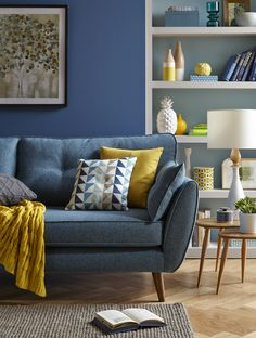 Modern Sofa Design: A Perfect Choice for Your Living Room - Wohnideen - Sofas Living Room Grey, Interior Design Living Room, Living Room Designs, Blue And Yellow Living Room, Living Rooms, Living Room Decor Blue Sofa, Sofa In Bedroom, Grey Dinning Room, Tiny Living