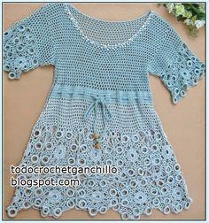 Vestido de hilo tejido con ganchillo con patrones de puntos