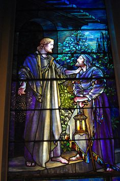 Louis Tiffany stained glass Nicodemus Came to Him by Night in Lockport, NY, First Presbyterian Church