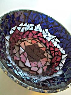 Purple Glass Mosaic Dish by earthmothermosaics on Etsy, $30.00