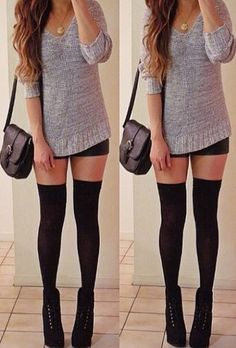 Sweater. I love the classic black over the knee socks with black shoes. So simple but so yes. Yes?