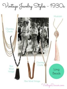 1930s jewelry - Beads were worn long, continuing the sleek Art Deco lines of the period. Shop VintageDancer.com/1930s