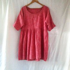 dress autumn womens meadow smock in cherry red cotton blend weave size medium 12-14 by smallforestshop on Etsy