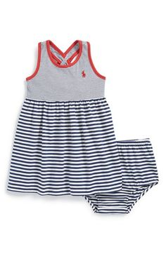Ralph Lauren Mixed Stripe Jersey Cotton Dress & Bloomers (Baby Girls) available at #Nordstrom