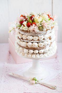 wedding cake - sponge cake with lemon & rosemary syrup and lemon mascarpone cream filling