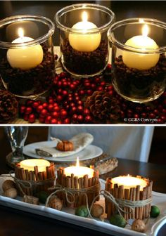 Use natural elements to add an element of fragrance to your holiday candlescape - coffee beans or cinnamon sticks, for instance - but NEVER leave unattended! (via katie495 blog)