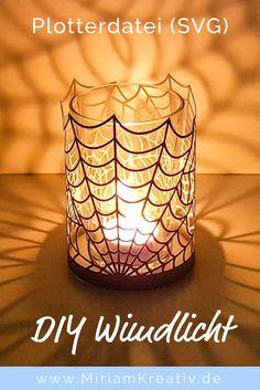 kostenlose Plottervorlage DIY Windlicht Spinnennetz (perfekt geeignet als Deko zu Halloween) Plotterdatei DXF & SVG - Plotterfreebie
