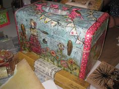 Beautiful vintage suitcase...a paper & Mod Podge project