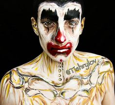 This is our grieving Clown inspired by a painting that my Grandma painted at a time when she was grieving.  I was going through an some emotional stuff so this was really therapeutic for me.  Photography by @atan_media #bodyart  #painting  #halloween #bodypaint #facepaint #mua #specialeffectsmakeup #arttherapy #sfxmakeup #art #artist #atanmedia #otherskin #atanmedia #arttherapy #grievingclown #clown #sadclown #mehron #mehronuk