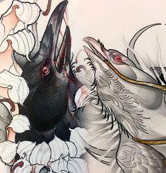Regardez cette photo Instagram de @angelo_barulli • 279 J'aime #illustration #neotraditionel #neotraditional #neo #traditionel #traditional #draw #drawing #tattoo #ink #tattooed #inked #sketch #sketches #flowers #animals #bird raven crow